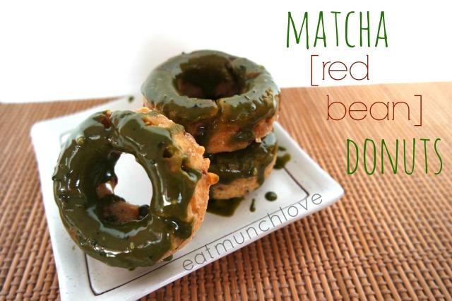 matcha glazed red bean donuts