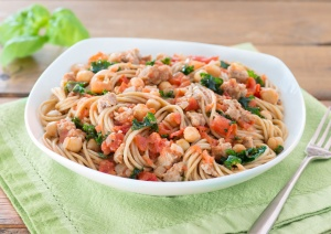 Catelli Spaghetti with Turkey Sausage and Kale