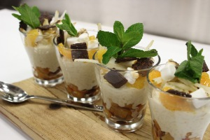 Minute Rice Pear and Cranberry Pudding with Chocolate Crunchies