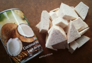 coconut taro rice pudding